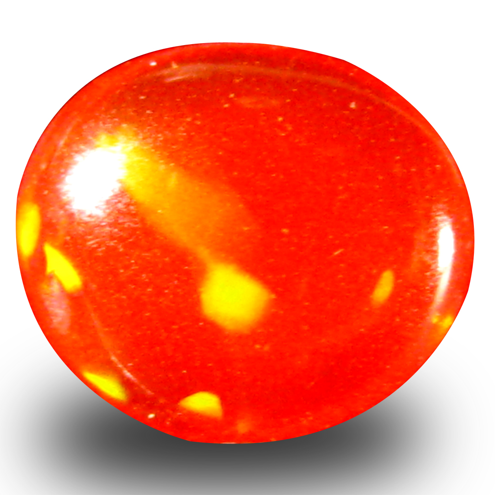 0.85 ct Extraordinary Fancy Cabochon Cut (8 x 7 mm) Flashing 360 Degree Multicolor Red Fire Opal