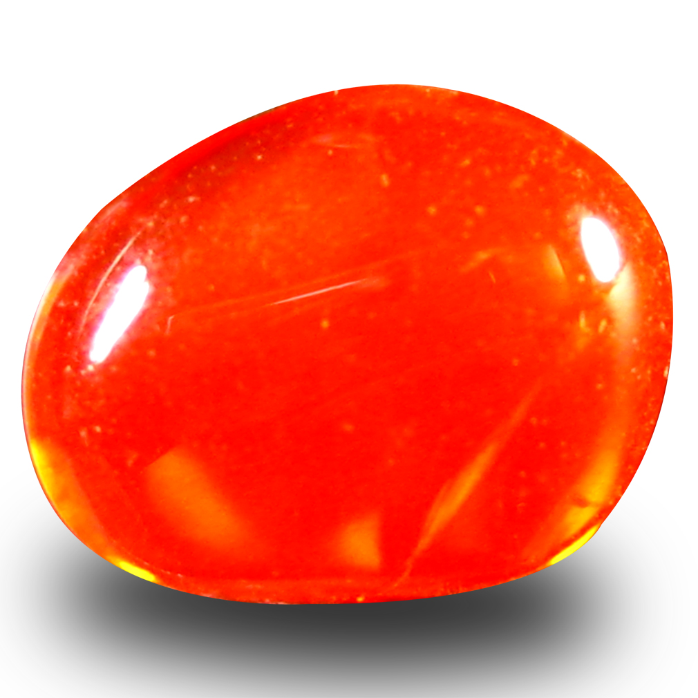 0.94 ct Flashing Fancy Cabochon Cut (8 x 7 mm) Flashing 360 Degree Multicolor Red Fire Opal