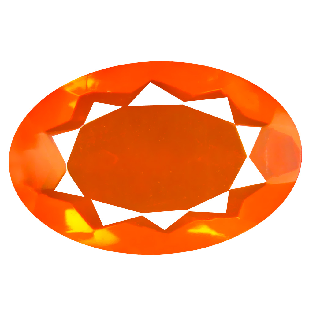 3.73 ct Unbelievable Oval Cut (16 x 10 mm) Mexico Orange Red Fire Opal Natural Gemstone