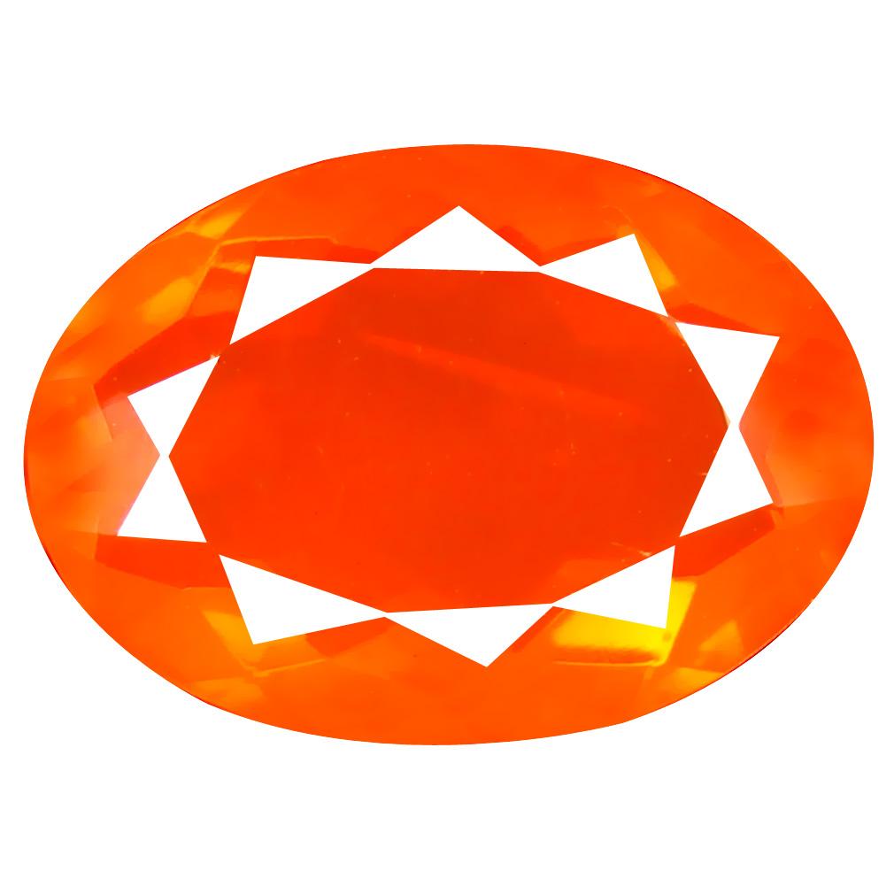 3.08 ct Wonderful Oval Cut (13 x 10 mm) Mexico Orange Red Fire Opal Natural Gemstone