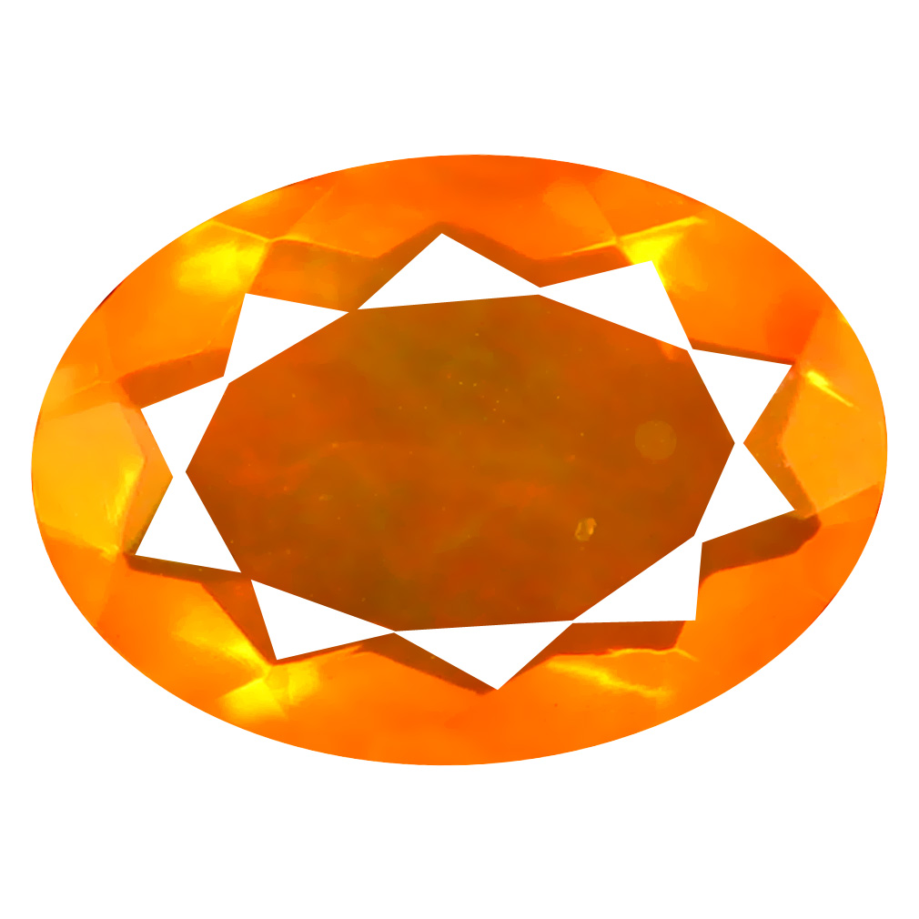 2.02 ct Excellent Oval Cut (12 x 9 mm) Mexico Orange Red Fire Opal Natural Gemstone