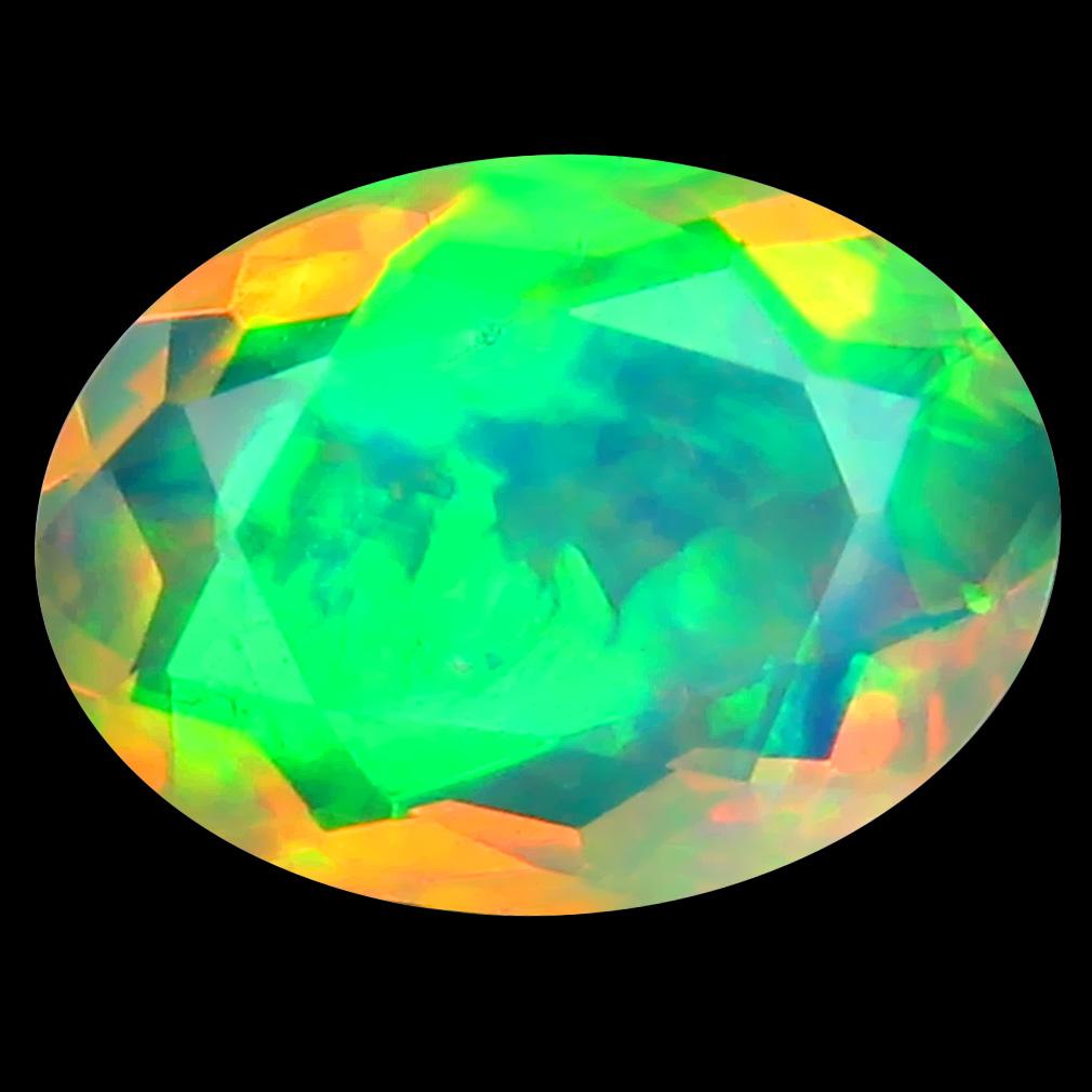 1.14 ct Impressive Oval (10 x 7 mm) Un-Heated Ethiopia Rainbow Opal Loose Gemstone