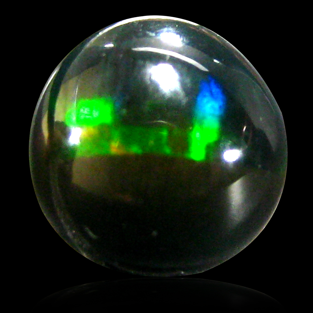 0.99 ct Spectacular Round Cabochon (7 x 7 mm) Flashing 360 Degree Multicolor Black Opal Gemstone