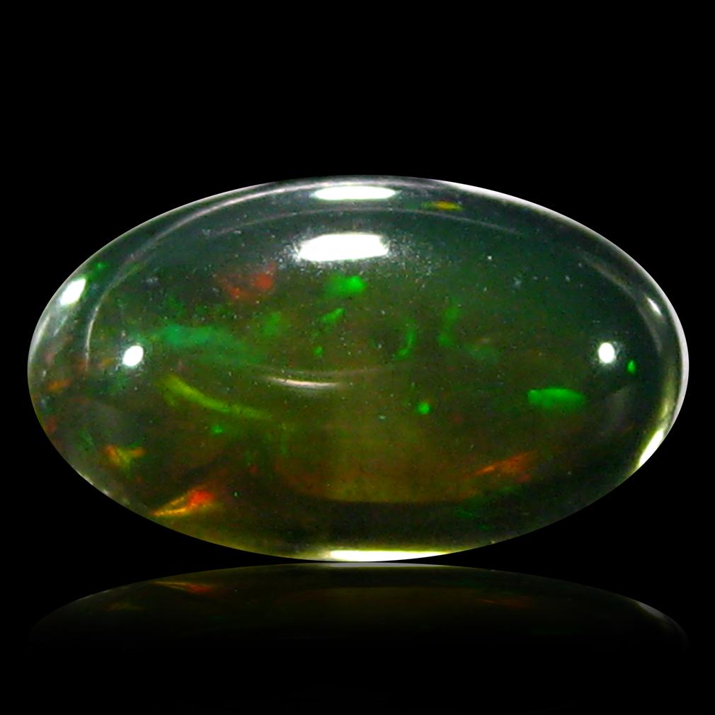 1.33 ct Amazing Cabochon Cut (10 x 6 mm) Flashing 360 Degree Multicolor Black Opal