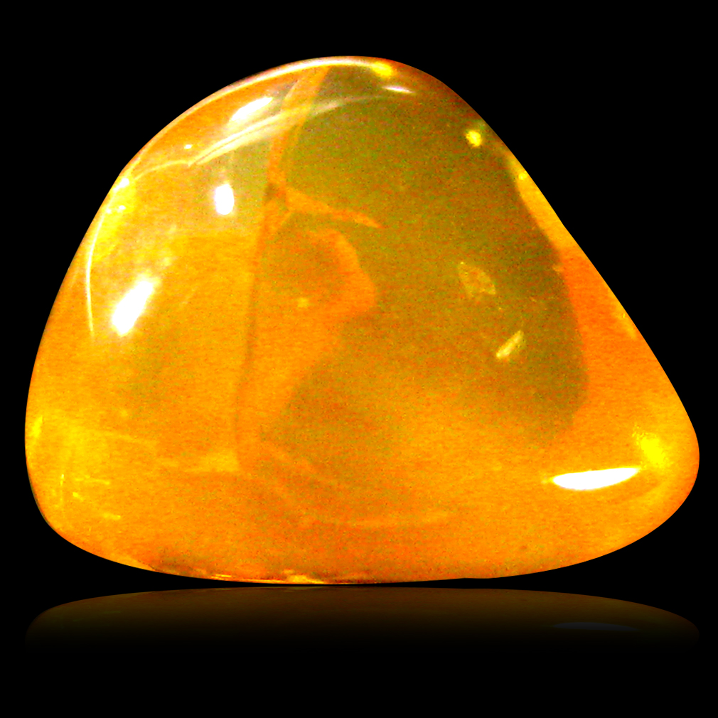 2.18 ct Excellent Fancy Cabochon Cut (9 x 8 mm) Un-Heated Natural Orange Fire Opal Loose Gemstone