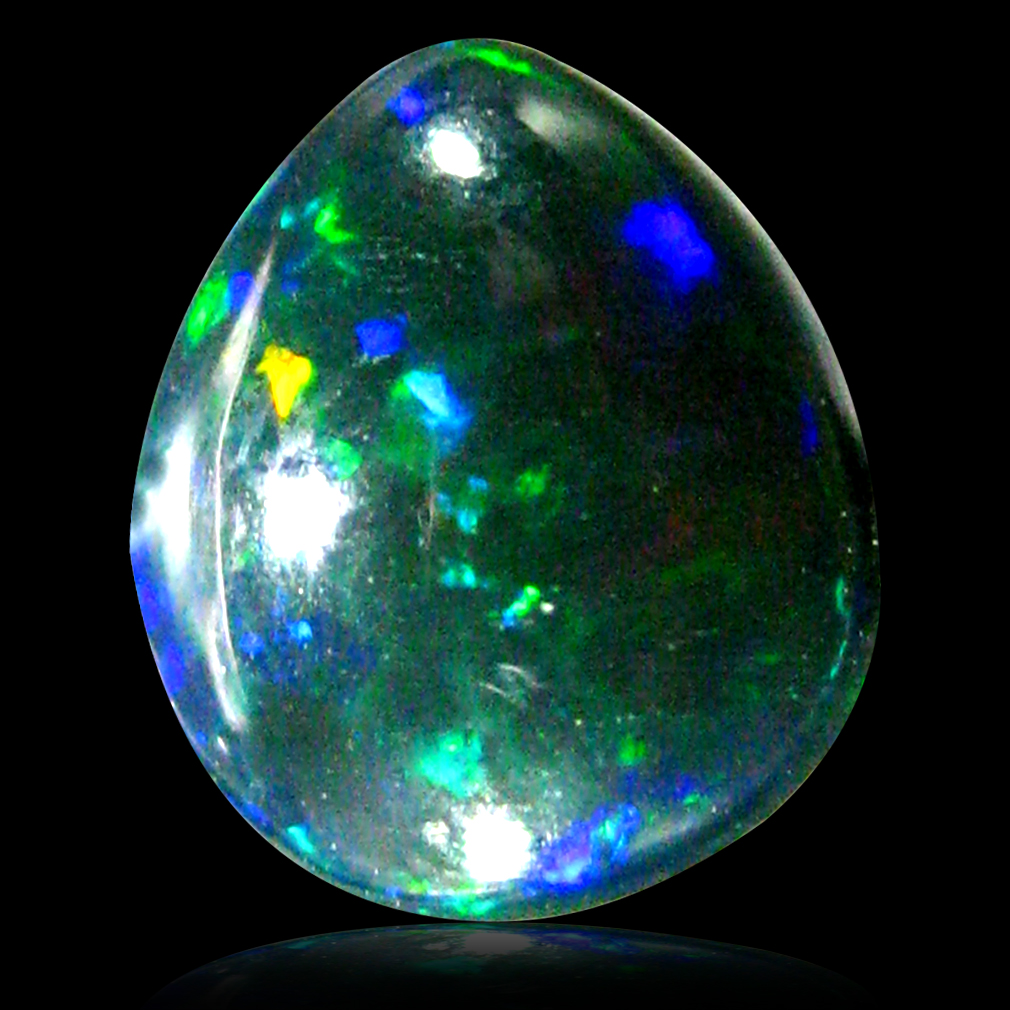0.85 ct AAA Phenomenal Pear Cabochon Shape (8 x 7 mm) Natural Black Opal Loose Stone