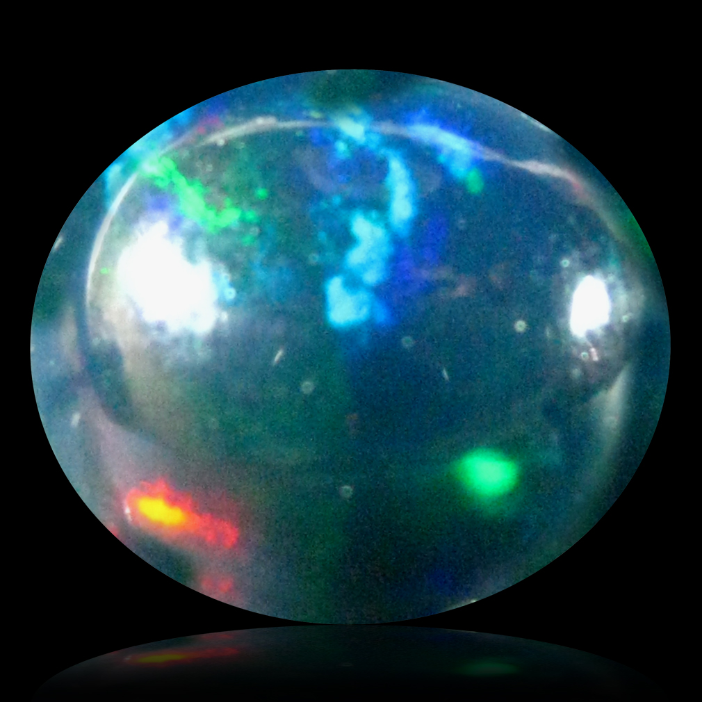 1.68 ct AAA Sparkling Oval Cabochon Shape (10 x 9 mm) Natural Black Opal Loose Stone