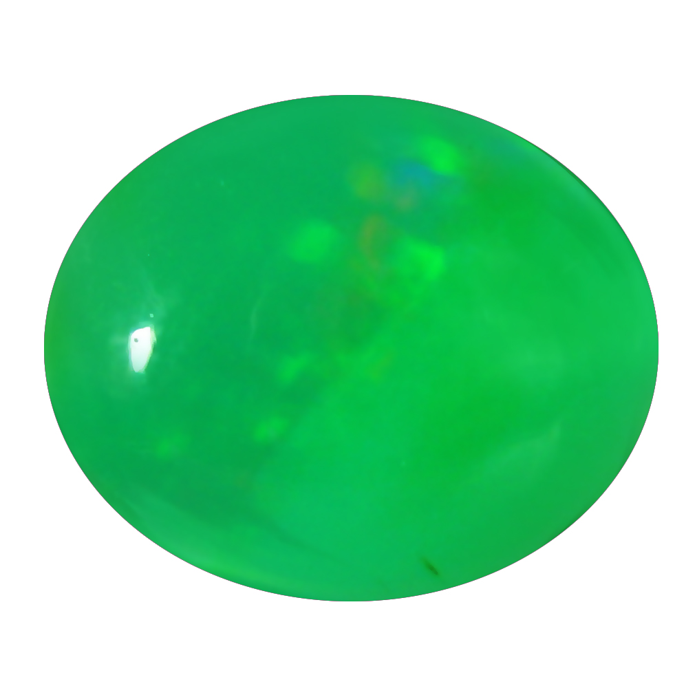 1.56 ct  Impressive Oval Cabochon Shape (10 x 9 mm) Green Opal Natural Gemstone