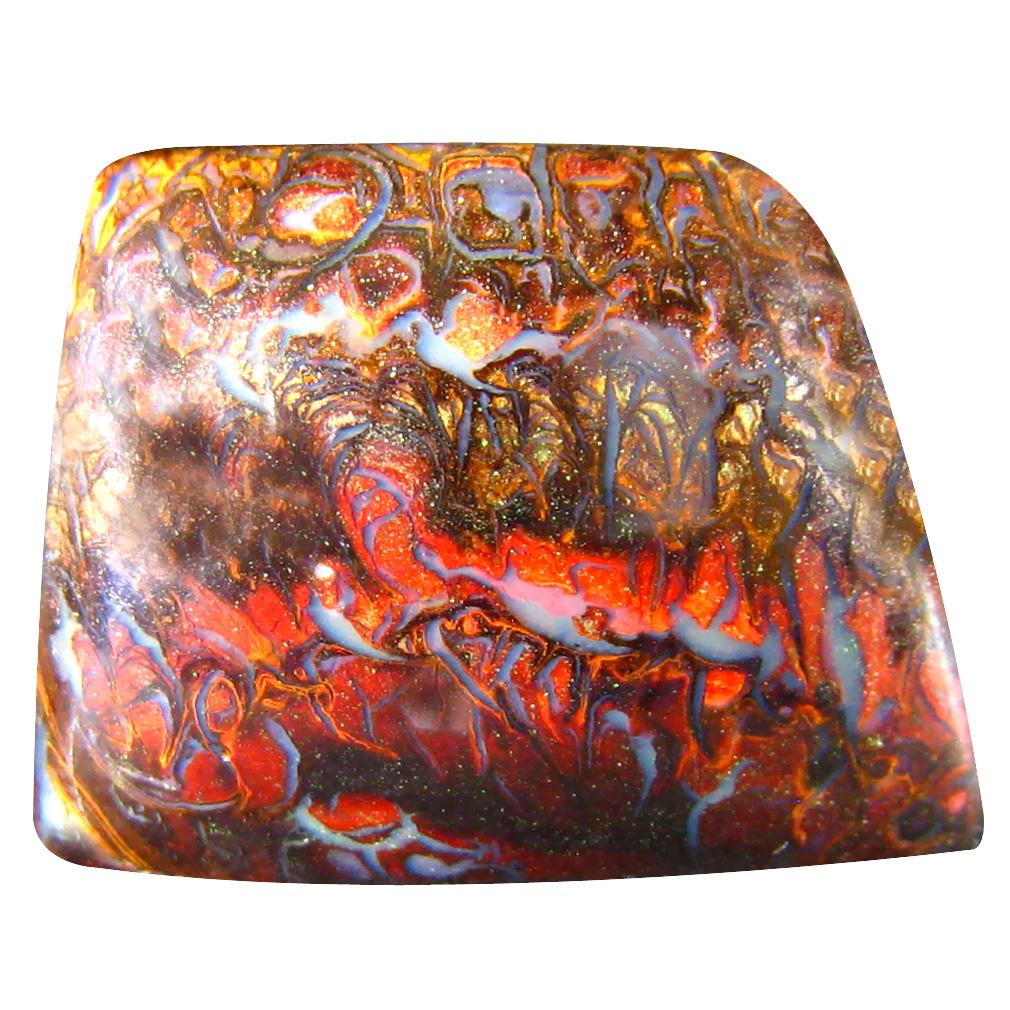 28.63 ct Pretty Fancy Cabochon Shape (23 x 18 mm) Play of Colors Australian Koroit Boulder Opal Natural Loose Gemstone