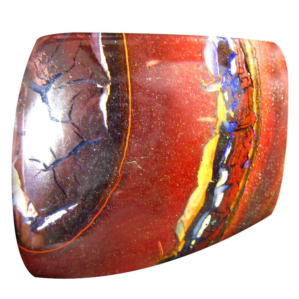 34.18 ct Tremendous Fancy Cabochon Shape (25 x 23 mm) Play of Colors Australian Koroit Boulder Opal Natural Loose Gemstone