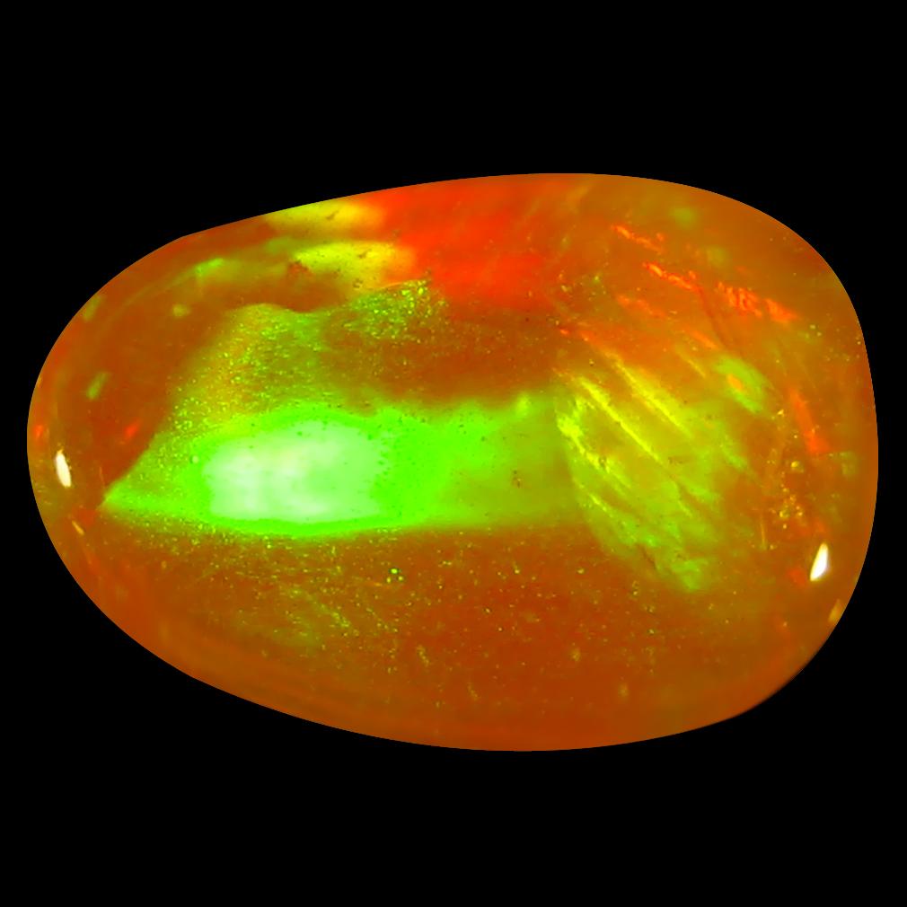 1.14 ct Charming Fancy Cabochon Cut (11 x 7 mm) Flashing 360 Degree Multicolor Orange Fire Opal