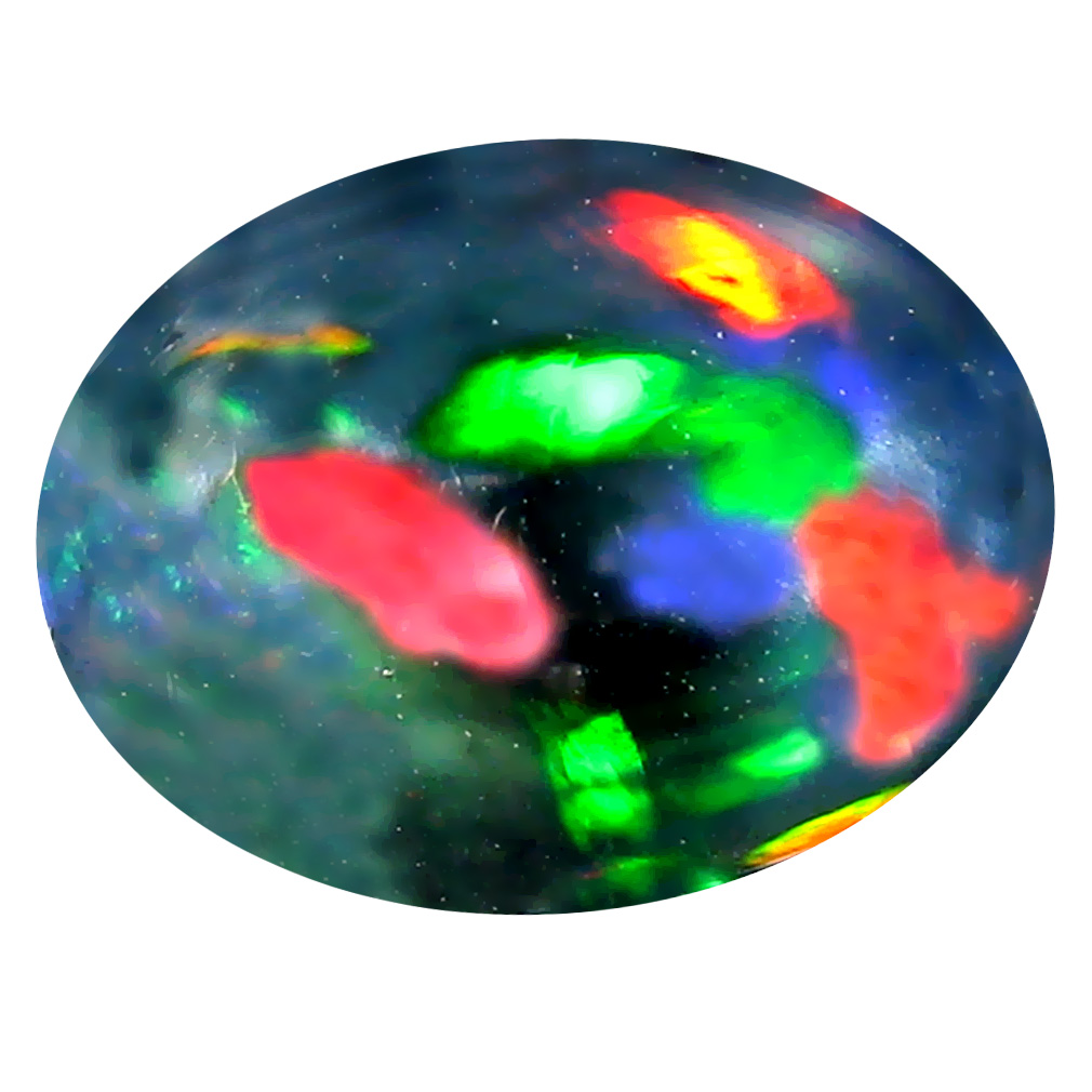 5.52 ct  Eye-catching Oval Cabochon Shape (15 x 11 mm) Play of Colors Black Opal Natural Gemstone
