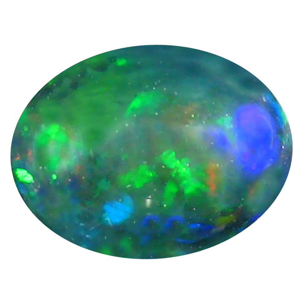 2.99 ct  Unbelievable Oval Cabochon Shape (13 x 10 mm) Play of Colors Black Opal Natural Gemstone