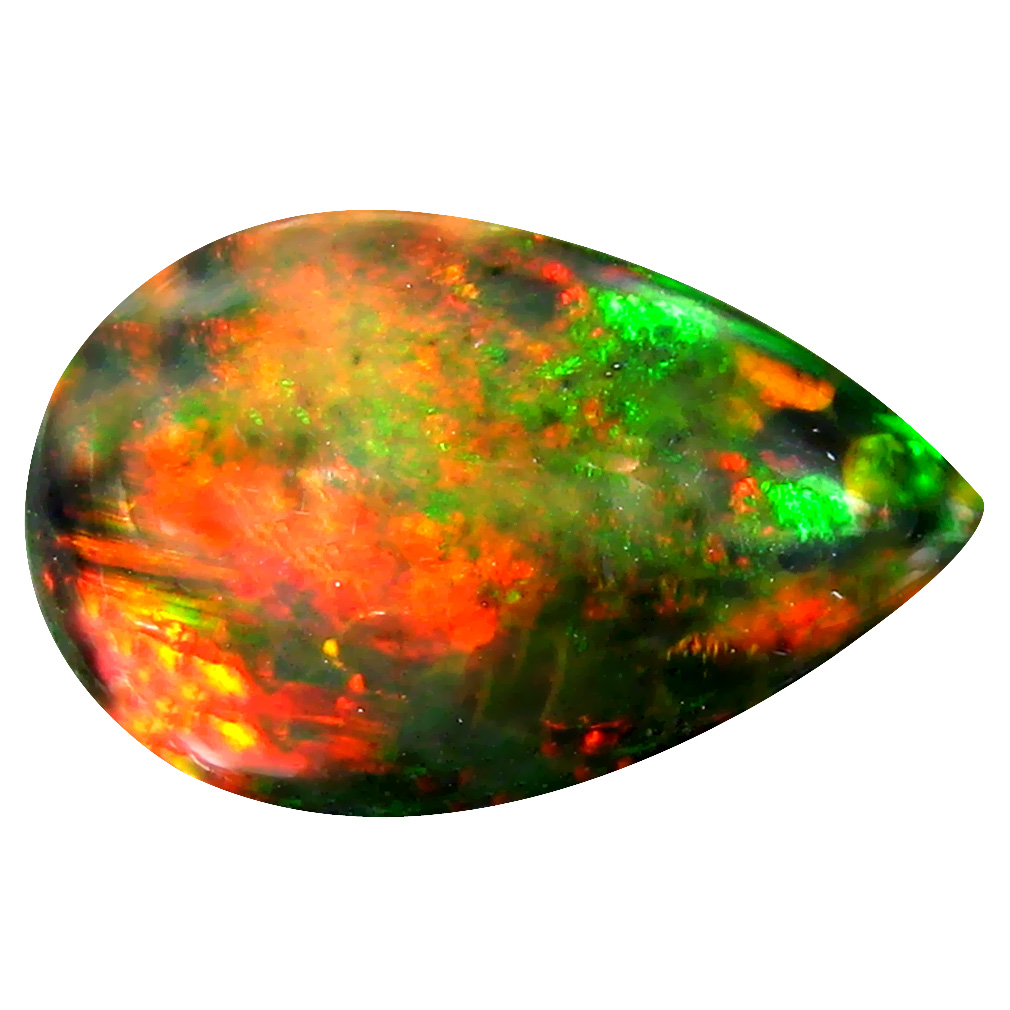 3.90 ct  Wonderful Pear Cabochon Shape (16 x 10 mm) Play of Colors Black Opal Natural Gemstone
