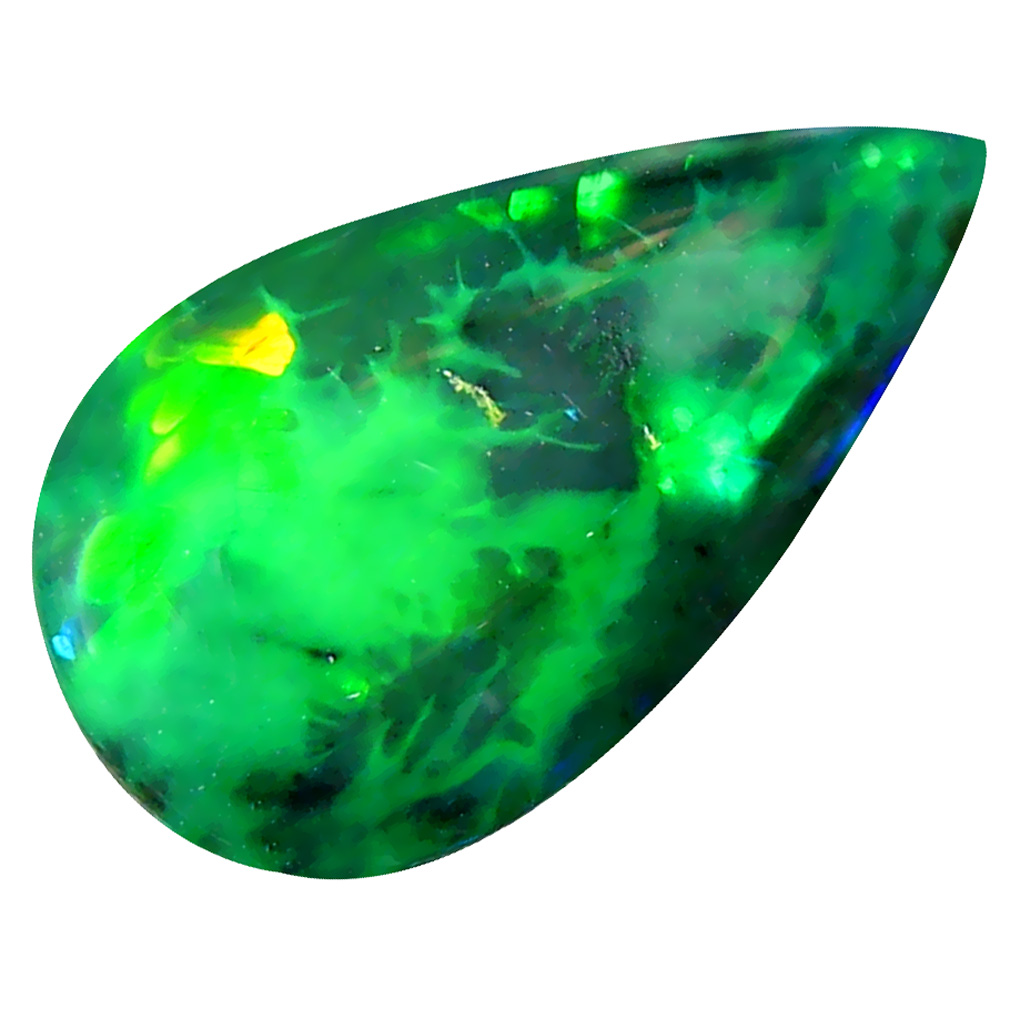 2.98 ct  Sparkling Pear Cabochon Shape (17 x 10 mm) Play of Colors Black Opal Natural Gemstone