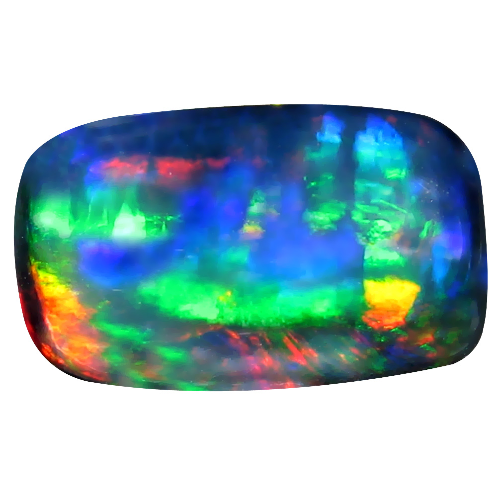 3.38 ct  Spectacular Cushion Cabochon Shape (15 x 9 mm) Play of Colors Black Opal Natural Gemstone