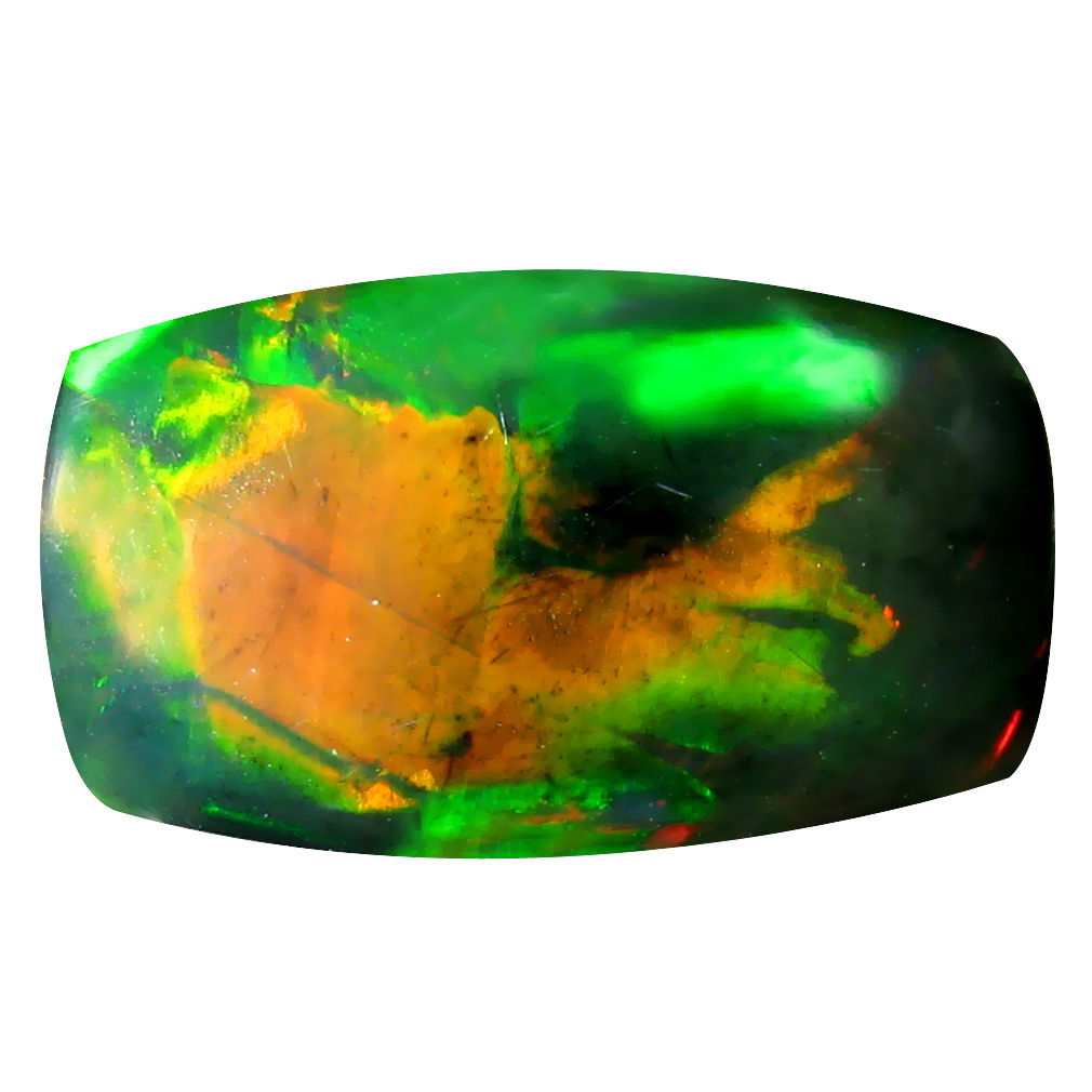 5.87 ct  Attractive Cushion Cabochon Shape (18 x 10 mm) Play of Colors Black Opal Natural Gemstone