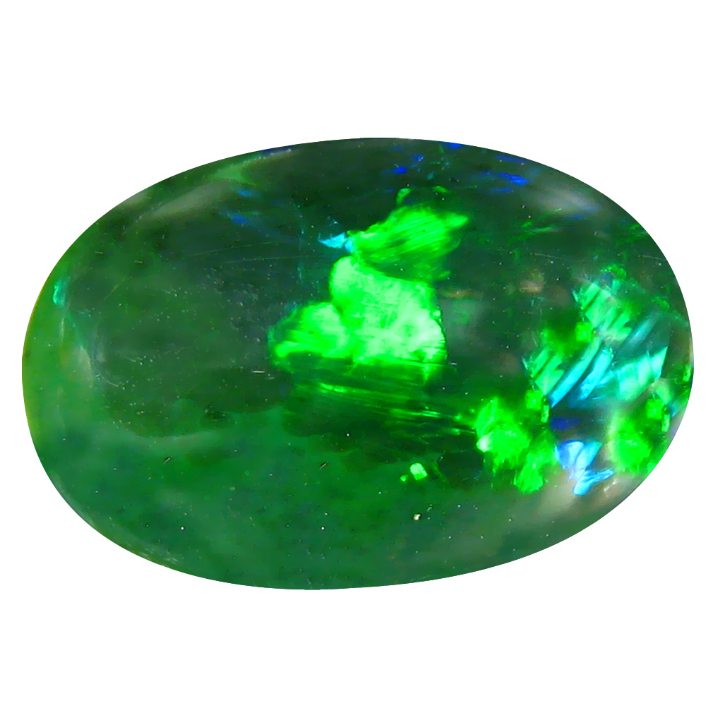6.50 ct  Excellent Oval Cabochon Shape (20 x 13 mm) Play of Colors Black Opal Natural Gemstone