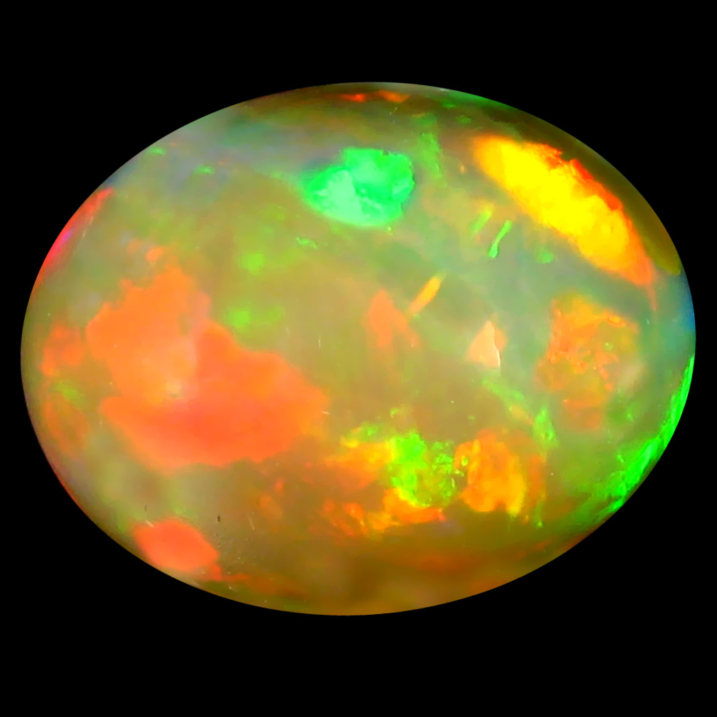5.49 ct Very good Oval Cabochon Cut (15 x 12 mm) Ethiopia Play of Colors Rainbow Opal Natural Gemstone