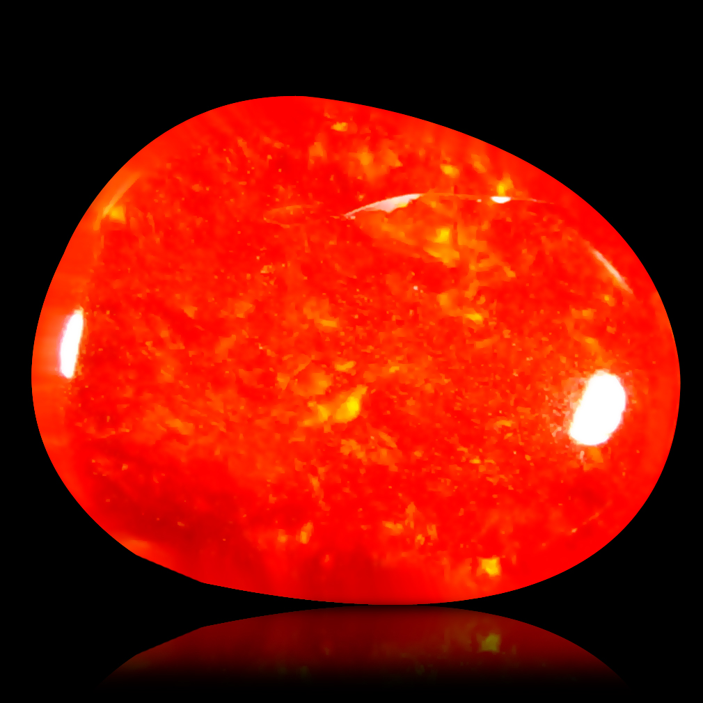 1.20 ct Exquisite Fancy Cabochon Cut (9 x 7 mm) Flashing 360 Degree Multicolor Red Fire Opal