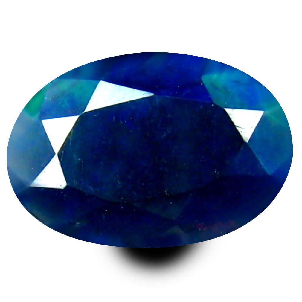 0.74 ct Mesmerizing Oval (9 x 6 mm) Flashing 360 Degree Multicolor Black Opal Gemstone