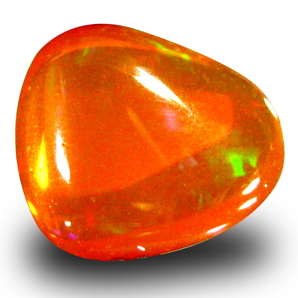 1.84 ct Fabulous Fancy Cabochon Cut (9 x 8 mm) Flashing 360 Degree Multicolor Orange Fire Opal