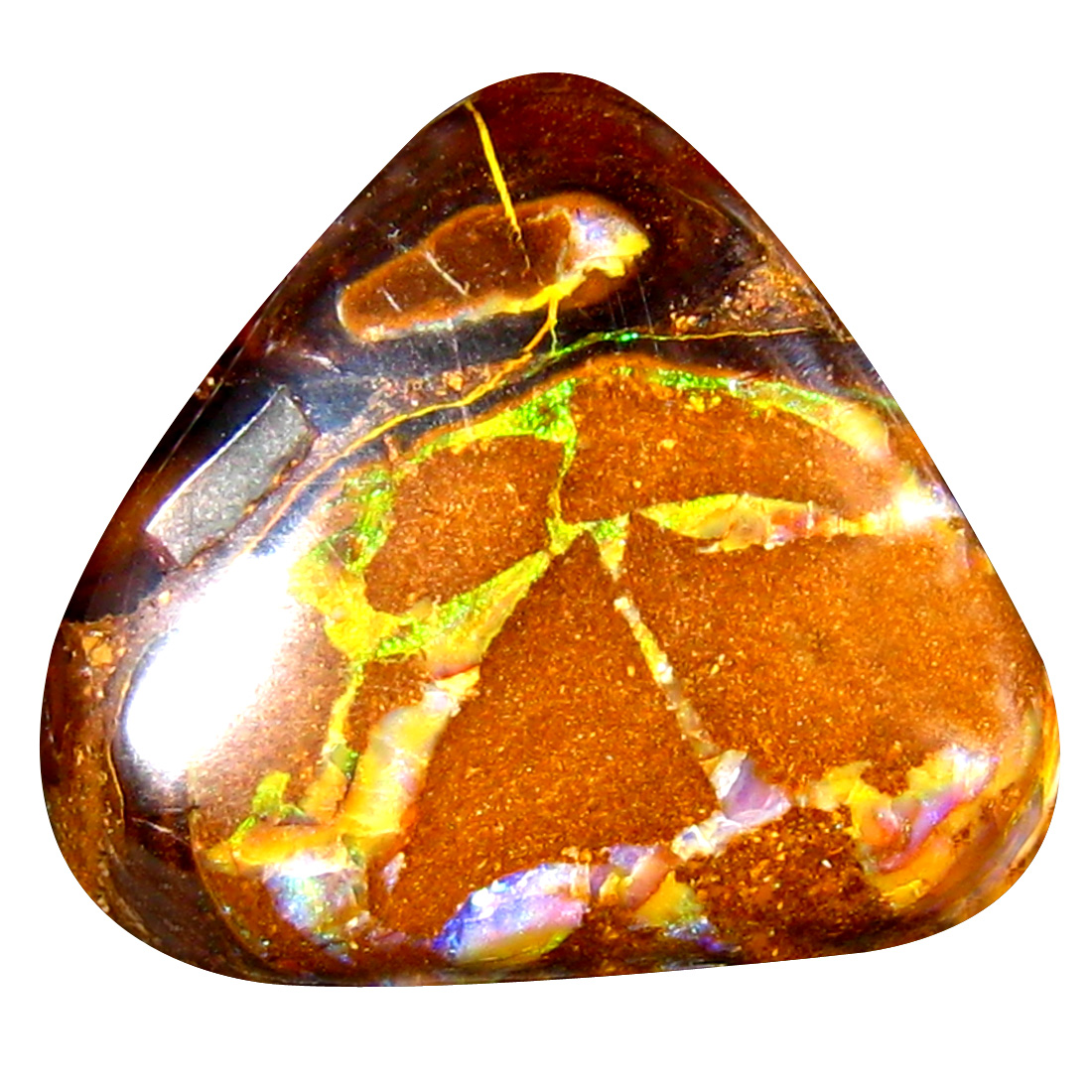 9.81 ct Eye-catching Fancy Cabochon Shape (14 x 14 mm) Play of Colors Australian Koroit Boulder Opal Natural Loose Gemstone