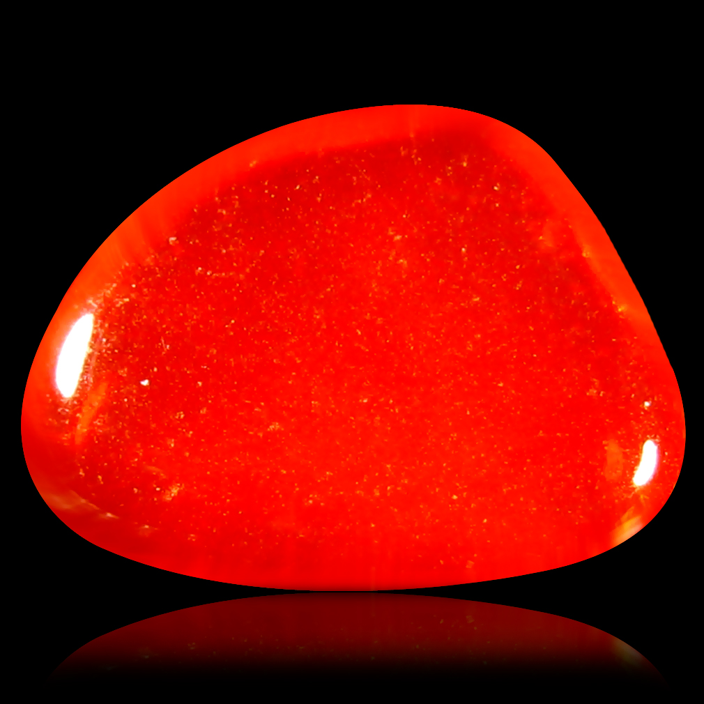 1.33 ct Significant Fancy Cabochon Cut (10 x 7 mm) Flashing 360 Degree Multicolor Red Fire Opal