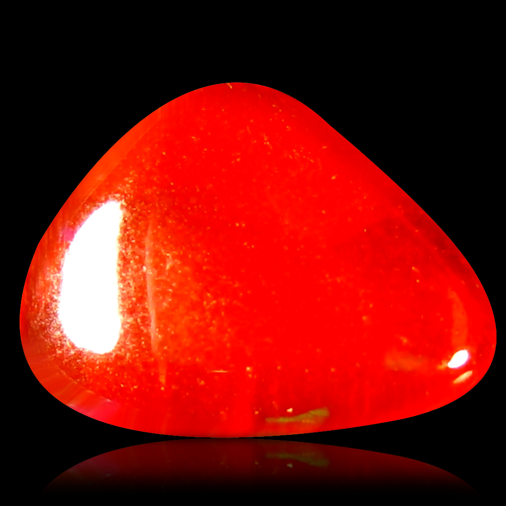 1.19 ct Incomparable Fancy Cabochon (10 x 8 mm) Flashing 360 Degree Multicolor Red Fire Opal Gemstone