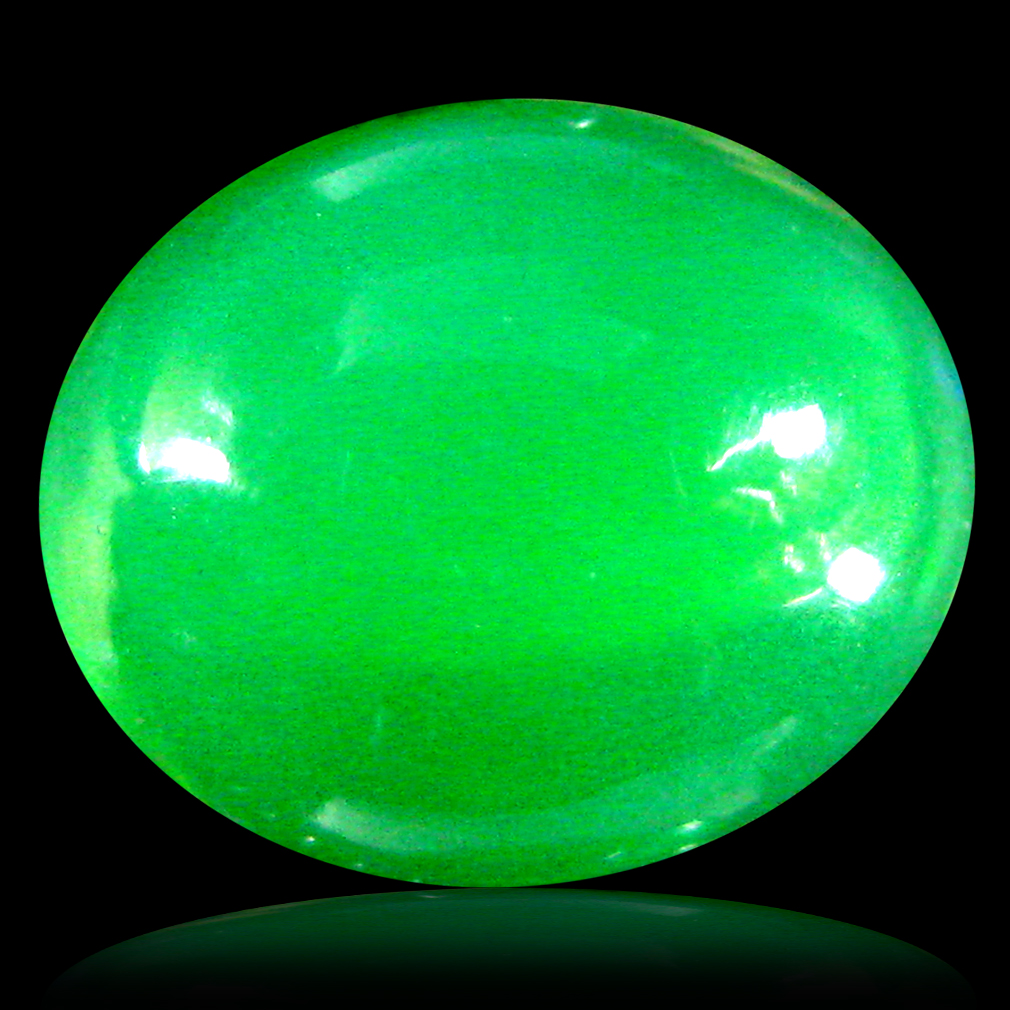 3.25 ct  Super-Excellent Oval Cabochon Shape (12 x 10 mm) Green Opal Natural Gemstone