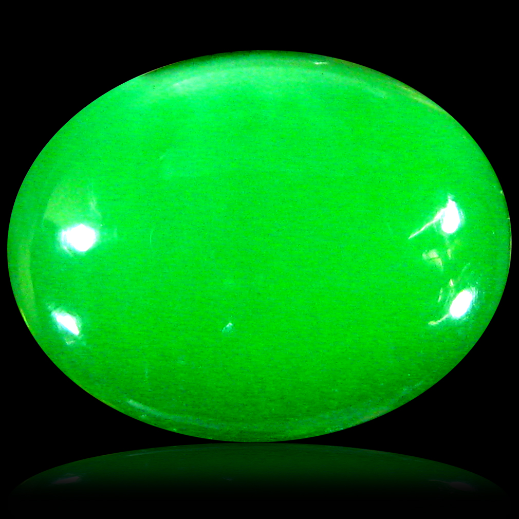 1.96 ct  Resplendent Oval Cabochon Shape (11 x 9 mm) Green Opal Natural Gemstone