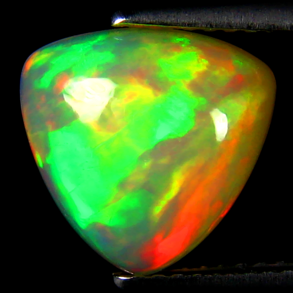 2.64 ct Awe-inspiring Triangle Cabochon Cut (11 x 10 mm) Ethiopia Play of Colors Rainbow Opal Natural Gemstone