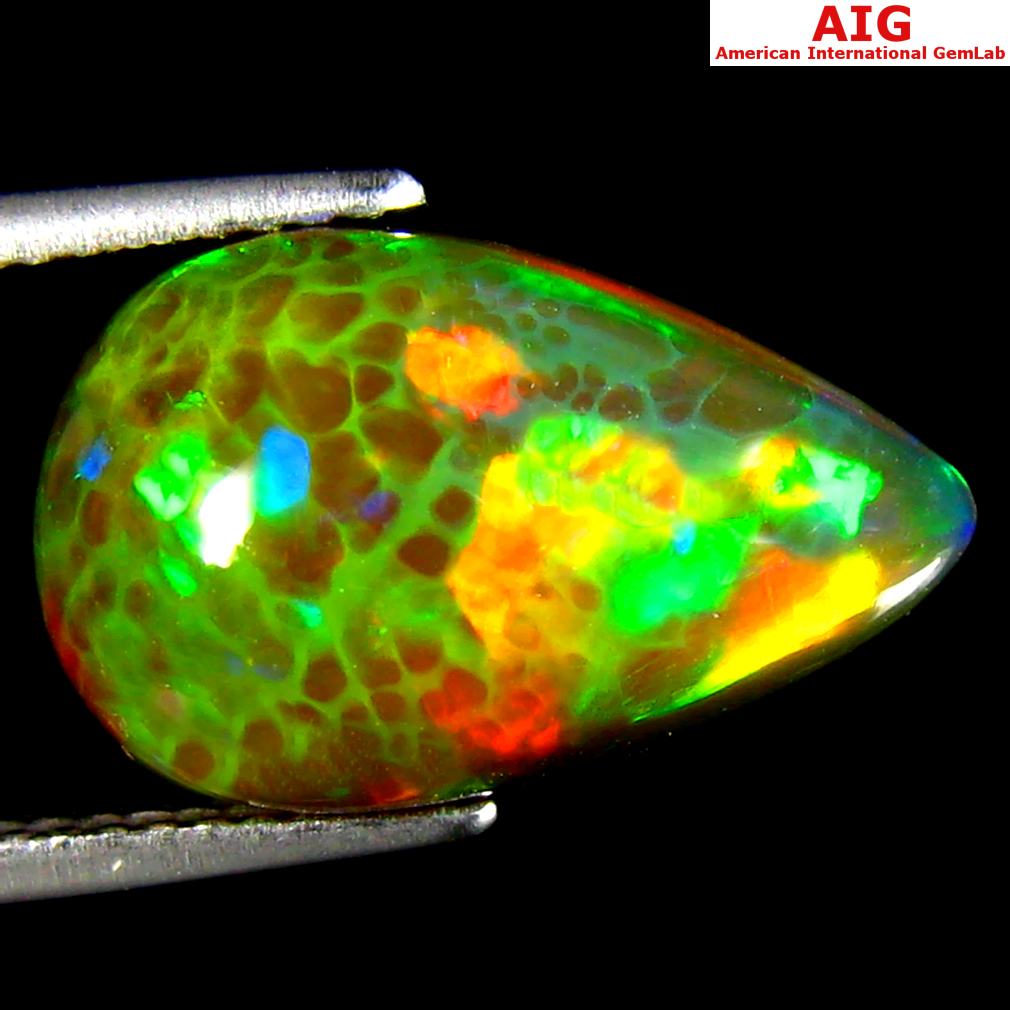 4.44 ct AIG CERTIFIED EXCELLENT PEAR CABOCHON CUT (16 X 10 MM) UNHEATED / UNTREATED NATURAL BLACK OPAL GEMSTONE