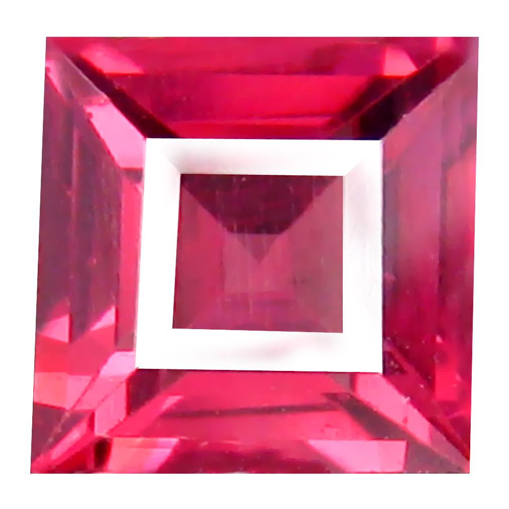 1.11 ct AAA+ Eye-opening Cushion Shape (6 x 6 mm) Pinkish Red Rhodolite Garnet Natural Gemstone