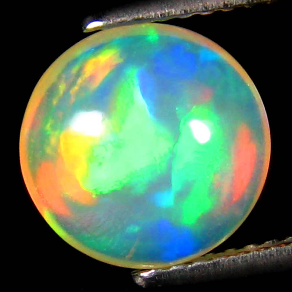 2.69 ct Spectacular Round Cabochon Cut (10 x 10 mm) Ethiopia Play of Colors Rainbow Opal Natural Gemstone