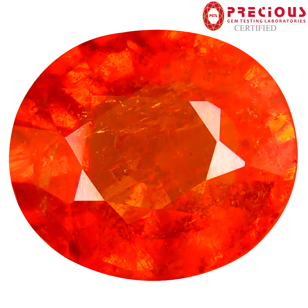 5.31 ct PGTL CERTIFIED VALUABLE OVAL SHAPE (11 X 9 MM) FANTA ORANGE SPESSARTINE NATURAL GEMSTONE