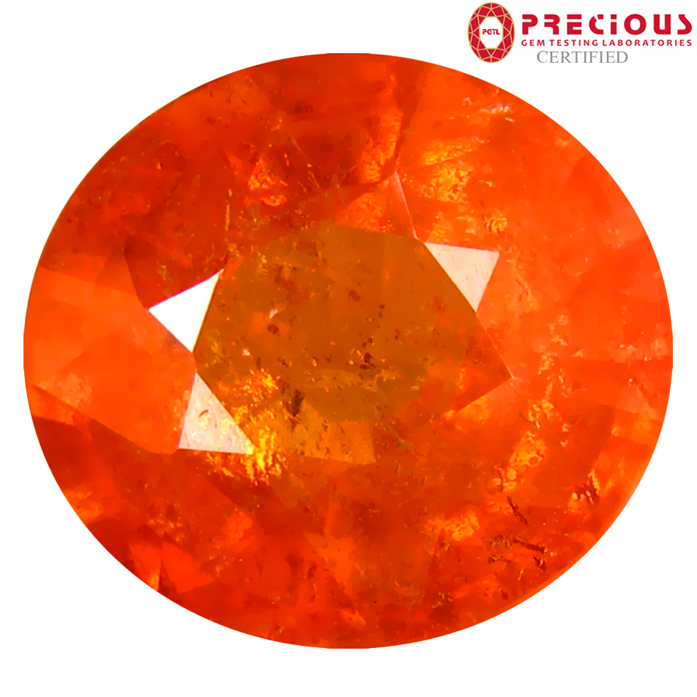 6.64 ct PGTL CERTIFIED PREMIUM OVAL SHAPE (11 X 10 MM) FANTA ORANGE SPESSARTINE NATURAL GEMSTONE