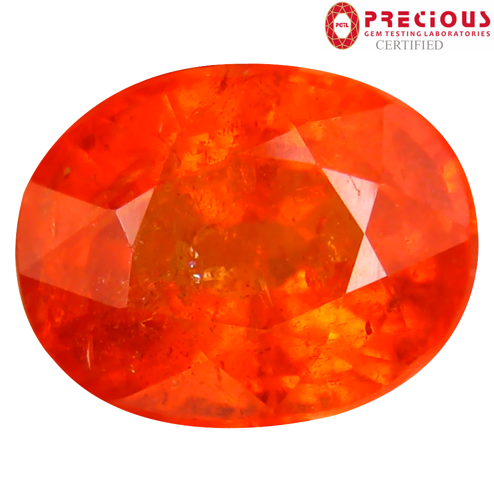 5.02 ct PGTL CERTIFIED RESPLENDENT OVAL SHAPE (10 X 8 MM) FANTA ORANGE SPESSARTINE NATURAL GEMSTONE
