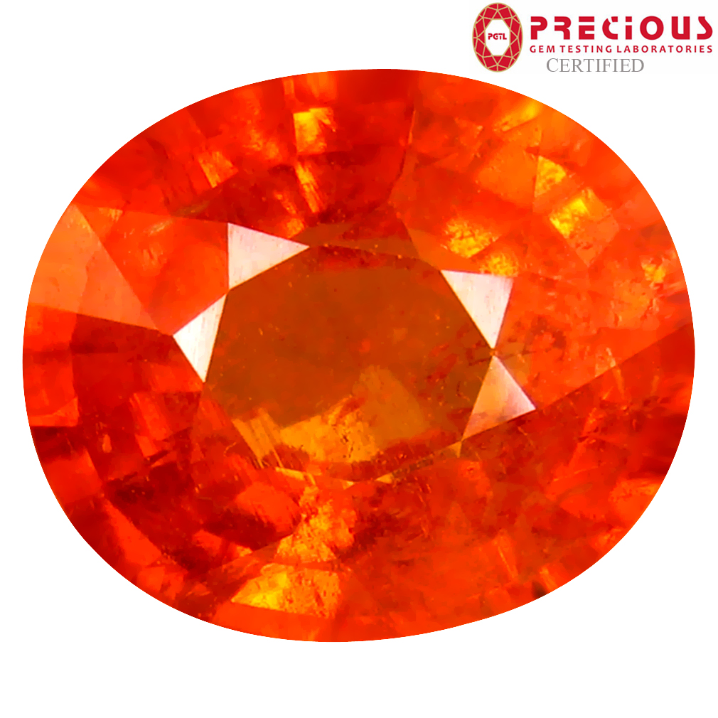 4.92 ct PGTL CERTIFIED CHARMING OVAL SHAPE (11 X 9 MM) FANTA ORANGE SPESSARTINE NATURAL GEMSTONE