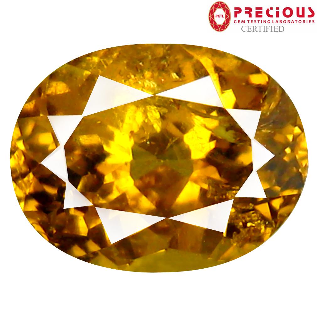 1.80 ct PGTL Certified Oval Cut (8 x 6 mm) Un-Heated Greenish Yellow Mali Garnet Gemstone