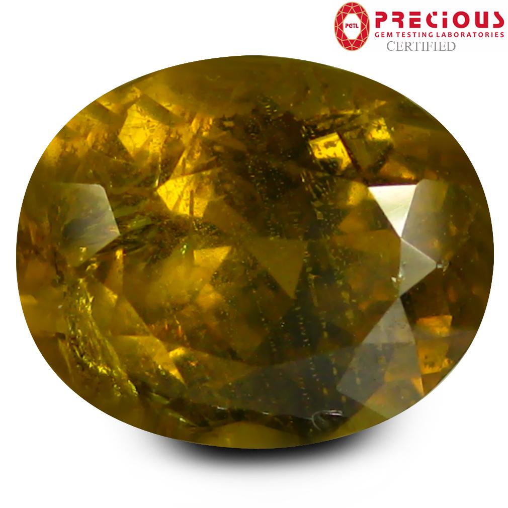 3.22 ct PGTL Certified Oval Cut (9 x 7 mm) Un-Heated Greenish Yellow Mali Garnet Gemstone