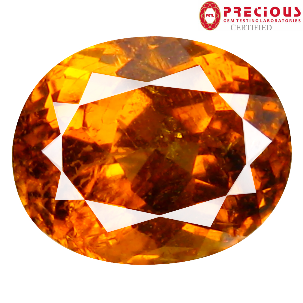 2.38 ct PGTL Certified Oval Cut (8 x 7 mm) Un-Heated Brownish Yellow Mali Garnet Gemstone