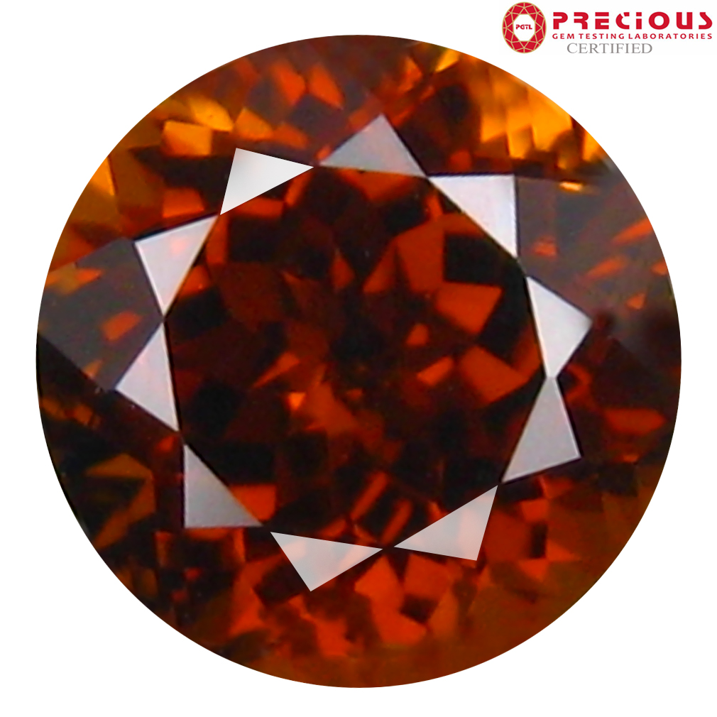 1.20 ct PGTL Certified Round Cut (6 x 6 mm) Un-Heated Brownish Yellow Mali Garnet Gemstone
