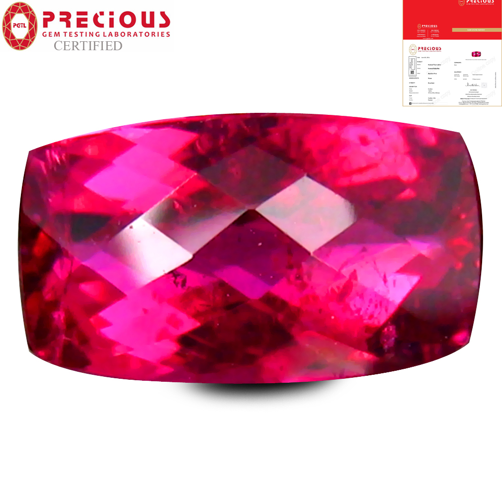 1.64 ct PGTL CERTIFIED AAAA GRADE EXCELLENT CUSHION CUT (10 X 6 MM) REDDISH PINK RUBELLITE TOURMALINE GEMSTONE