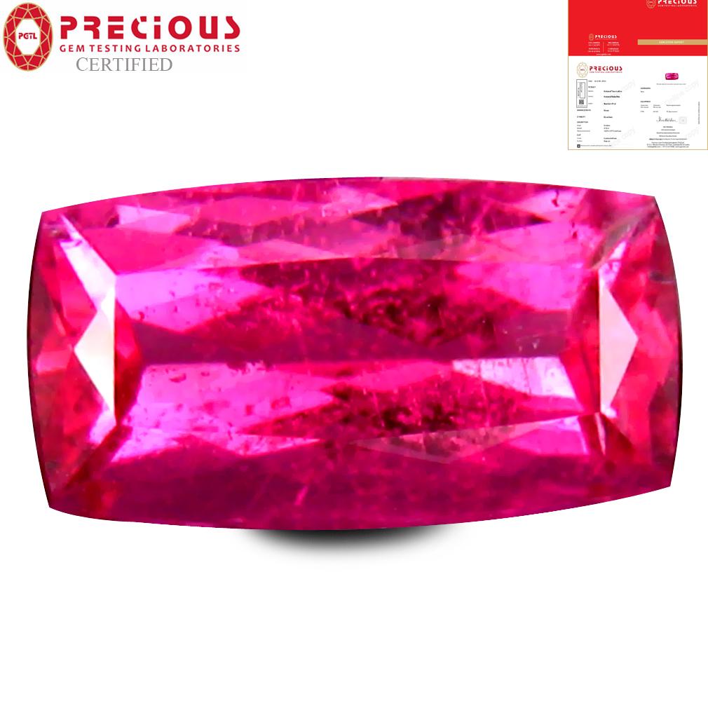 2.10 ct PGTL CERTIFIED AAAA GRADE BEST CUSHION CUT (10 X 6 MM) REDDISH PINK RUBELLITE TOURMALINE GEMSTONE