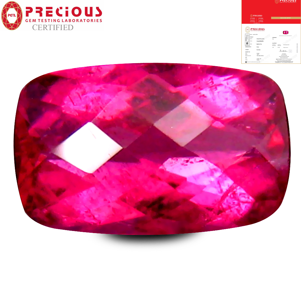 1.69 ct PGTL CERTIFIED AAAA GRADE IMPRESSIVE CUSHION CUT (9 X 6 MM) REDDISH PINK RUBELLITE TOURMALINE GEMSTONE