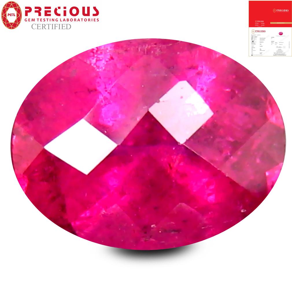 2.05 ct PGTL CERTIFIED AAAA GRADE EXQUISITE OVAL CUT (9 X 7 MM) REDDISH PINK RUBELLITE TOURMALINE GEMSTONE
