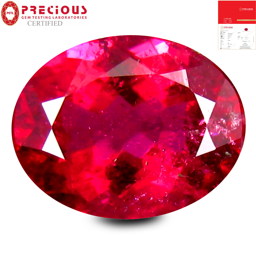 2.37 ct PGTL CERTIFIED AAAA GRADE ATTRACTIVE OVAL CUT (10 X 8 MM) REDDISH PINK RUBELLITE TOURMALINE GEMSTONE