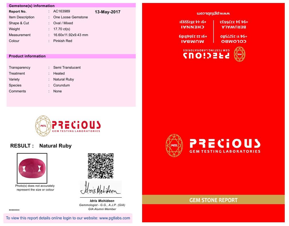 17 70 Ct Pgtl Certificado Atractiva Forma Ovalada 17 X 12