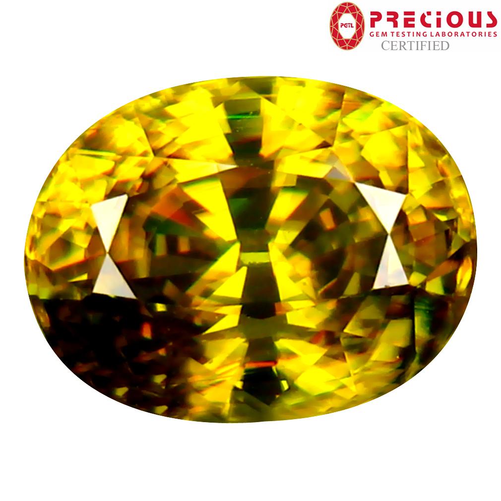 3.46 ct PGTL Certified AAA+ Grade Beautiful Oval Cut (10 x 8 mm) Un-Heated Greenish Yellow Sphene Stone